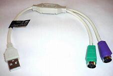 USB vers PS/2 PS2 Adaptateur Convertisseur répartition ACTIF 2 x PS2 bagues