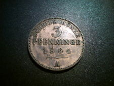 1864 GERMANY PRUSSIA 3 PFENNIG COIN. LUSTRE SUPERB GRADE UNC