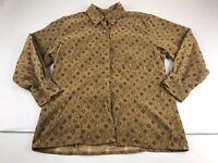 Woolrich Brown Tan Print Corduroy Button Shirt Top Women Cotton Large L