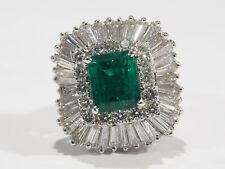 Platinum Edwardian Diamond Emerald Pendant Ring GIA Certified