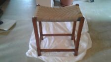 Vintage Retro wooden stool with woven seat