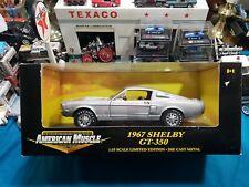 1/18 ERTL AMERICAN MUSCLE 1967 FORD SHELBY GT-350 METALLIC GREY w/WHT STRIPES