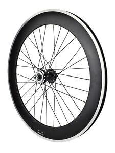 700c Fixie Single Speed Rear Wheel Flip Flop Black Rim 70mm DeepV 16T Sprocket