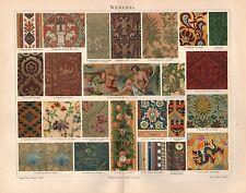 Weberei  Teppiche Gobelin Muster Seidenstoff Samt  Lithographie 1897