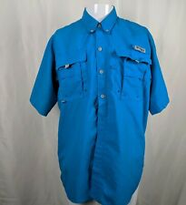 Med Columbia PFG Omni Shade Turquoise Blue Button Down Vented Short  sleeve
