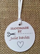 15x Personalised Handmade By, Product Labels, Craft Tags