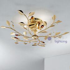 Plafoniera lampadario soffitto design moderno acciaio cromo oro cristalli salone