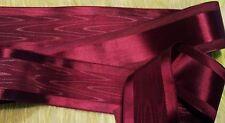 "1-1/2""  MOIRE' & SATIN RIBBON CRANBERRY RED - JAPAN"