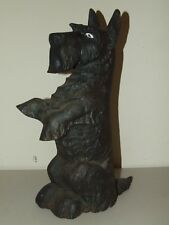 1930's Cast Iron Scotty Dog Large Figural Scottish Terrier Door Stop w/Glass Eye