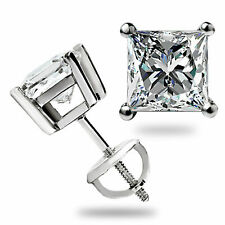 3.1 Ct Solitaire Princess Cut Stud Earrings Lab Diamond 14k White Gold Screwback