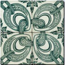 Antique 4 Portuguese Tiles 19th century Original Portuguese Hand Painted Tiles