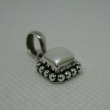of pearl square pendant Vintage silver and genuine mother