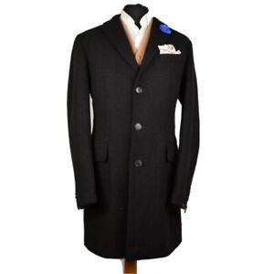 "Harris Tweed BARUTTI Tailored Gentleman's Long Black Overcoat - 42"" STUNNING"