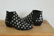 BLACK & SILVER SEQUIN STAR ANKLE CHELSEA BOOTS SIZE 4 / 37 BY PRIMARK USED CON