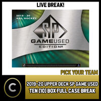 2019-20 UPPER DECK SP GAME USED 10 BOX (FULL CASE) BREAK #H848 - PICK YOUR TEAM