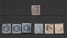 España. Conjunto de 7 sellos de Isabel II con matasellos Interesantes