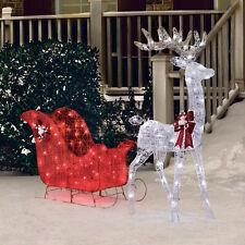 "Christmas Outdoor Decoration Pre Lit Deer 52"" Reindeer 40"" Sleigh Xmas Sculpture"