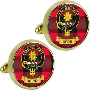 Mens Cufflinks Kerr Scottish Clan Crest Brass Finish Presentation Boxed