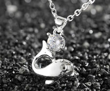 Fashion Women Dolphin 925 Sterling Silver Plated Pendant Necklace Chain Jewelry
