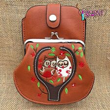 Tan Owl Purse Small bag with Smart Phone Spectacles Holder Long & Short Straps