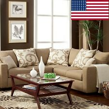 Beige Color Sectional Sofa Comfort Living Room Furniture Transitional In Fabric