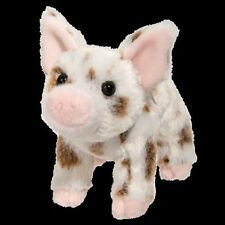 "YOGI 6"" PIG stuffed plush animal toy pink white brown spots Douglas Cuddle Toy"