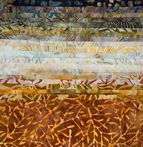 LUNN FABRICS BATIKS STASH BUILDER 20 FAT QUARTERS #075 ORANGE RUST GOLD BROWN