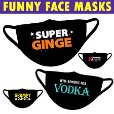 Funny Face Mask Covering Reusable Washable Adult Unisex Comical Joke Gift Cheeky