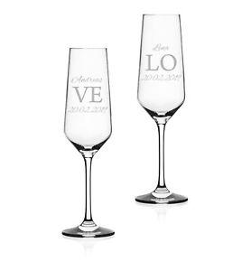 """2x Sektglas mit Wunschgravur """"LOVE"""" Geschenk Hochzeit Jahrestag Liebe"""