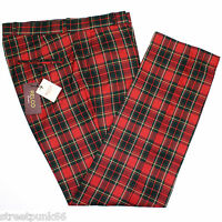 Relco Mens Stay Press Red Stewart Tartan Trousers Sta Press Retro Mod Skin Ska
