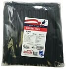 """1000 Black 7"""" Inch Nylon Cable Wire Wrap Zip Ties 50 LBS UV Resistant - USA"""