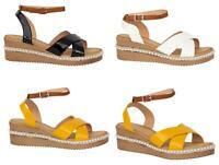 Ladies Low Wedge Heel Flatform Stud Buckle Ankle Strap Womens Sandals