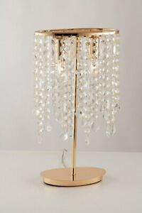 Bedside Lamp Lumetto Modern Gold Metal And Crystal Clear