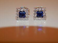1.18 tcw Diamond D/VS AAA Kashmir Blue Sapphire Halo Stud Earrings 18k WG NICE