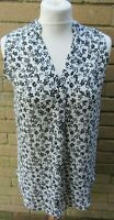 Pep & Co-Ladies Black & White Floral Patterned Sleeveless Top Size 8