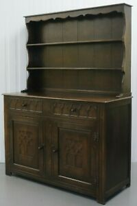 BEAUTIFUL OAK DRESSER WITH TWO TIER PLATE RACK BACK & A PAIR OF DRAWERS