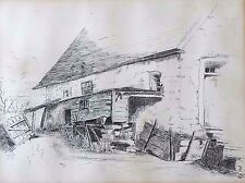 Original Fine 19th c. Pen and Ink Drawing of a Country Homestead Signed STW