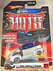 2006 Hot Wheels Ultra Hots 2/36 '50s CHEVY TRUCK Silver w/Real Riders WW DD Sp