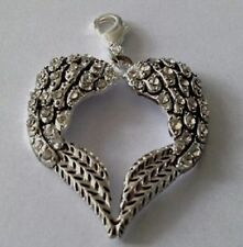 LARGE SILVER & RHINESTONE ANGEL WINGS HEART CLIP ON PENDANT/CHARM - SILVER ALLOY