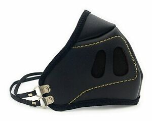 Black Synthetic Leather Face Mask With Air Filter