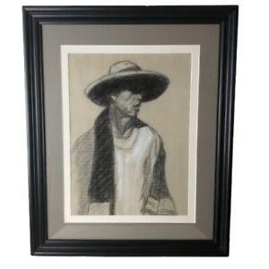 "Vtg Portrait Drawing Man In Hat Indigenous Peru Bolivia Tarabuco Monochrome 22"""