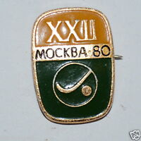 WOW Vintage 1980 XXII Mockba Russian Olympic Polo Pin PinBack 15KT Gold Plated