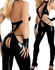 Latex Look Black Catsuit / Jumpsuit Crotchless Gloves Thong Included