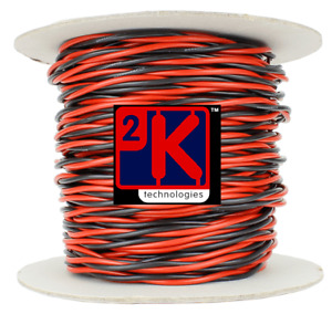 DCC Concepts DCW-TW20-2.5 DCC Layout Twisted Bus Wire 2.5mmx1x20m Roll Red/Black