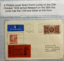 1948 Lundy Channel Island England Airmail Cover To Barnstaple With Bus Ticket