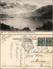 Lago di Como, effetto nubi preso dalla villa Serbelloni, viaggiata 1908