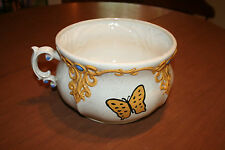 Vintage Arnel's 1976 Chamber Pot Yellow scroll Handpainted Butterfly (Ayner's ?)