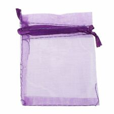 10 pack Beautiful Dark Purple Organza Gift and Favour Bags 7cm x 9cm X7R1