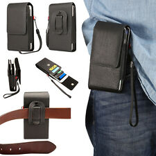Double Pockets Magnetic Belt Clip Pouch Holster PU Leather Case For Mobile Phone