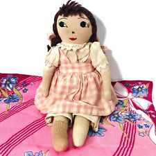 Antique Cloth Girl Doll with Embroidered Face in Original Clothes 1800's